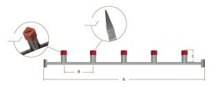 Tværstang med firkantrør, stor